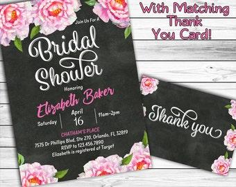 Floral Bridal Shower Invitation, Peony Bridal Shower Invitation, Chalkboard Bridal Shower Invitation, Watercolor Flower, Printable Invite