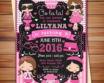 Pink Poodle in Paris Birthday Invitations, Paris Poodle party digital chalkboard invitation, Thank you card free!