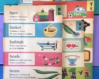 1949 Little Golden Dictionary book pages - alphabet ephemera