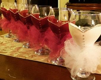 Bride or Bridesmaid Dress Wine Glasses