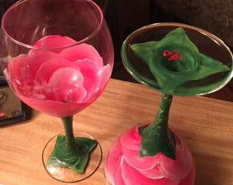 Hand Painted Rose Wine Glass