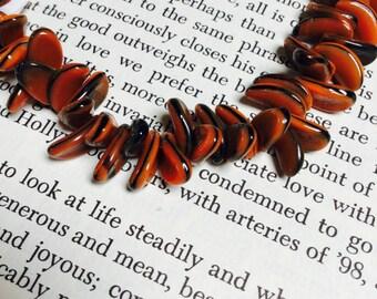 Vintage Curved Lentil Beads in Orange and Black - 44 Pieces - #719