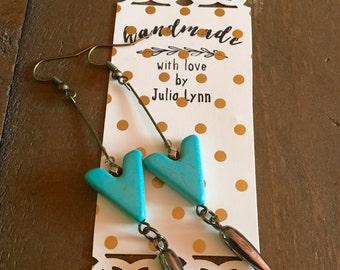 Handmade Turquoise Spike Drop Earrings