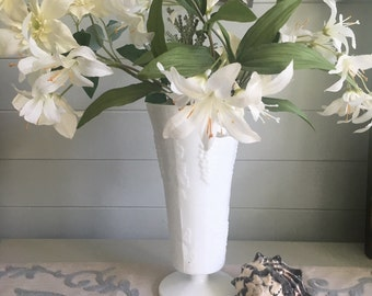 Milk Glass Vase w/ Grape Pattern