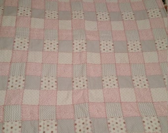 Pink and grey hand embroidered bunny blanket