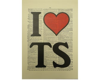 Vintage Inspired ' I Heart TS ' Dictionary Page Art Print P021