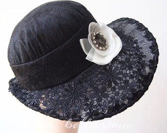 SALE black 1920's Vintage Style hats Summer hat  formal hats party hats  ladies' and misses' hats millinery  hatbellissima