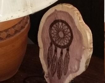 Native American Dream Catcher pyrography art