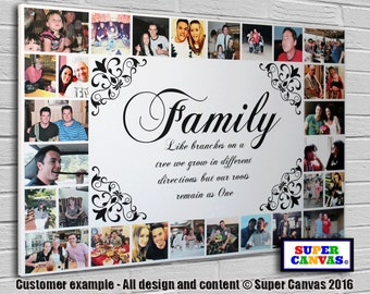 Family framed personalised bespoke Canvas Print with 32 pictures
