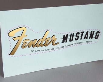1966 Fender Mustang #1 precut water slide decal headstock for restoration