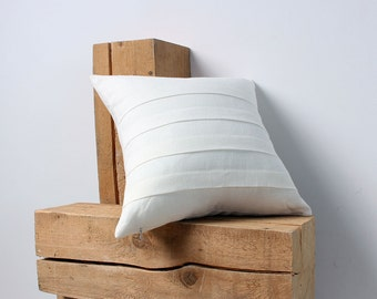 FREE SHIPPING, White Linen Decorative Pillow Cover, Pillow Covers 20x20, 18x18, 16x16, 24x24