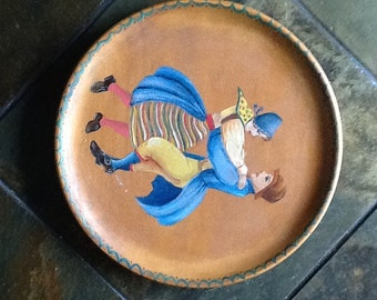 Vintage Wood Plates Hand Painted Dutch or Scandinavian