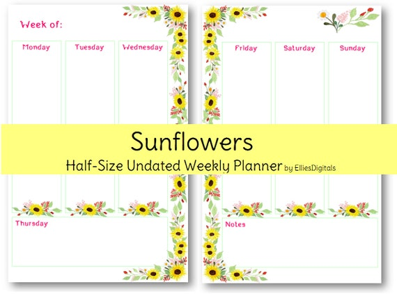 Undated Half Size Weekly Planner - Sunflowers - Vertical Style - Printable Planner
