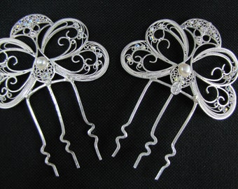 Silver filigree hair combs