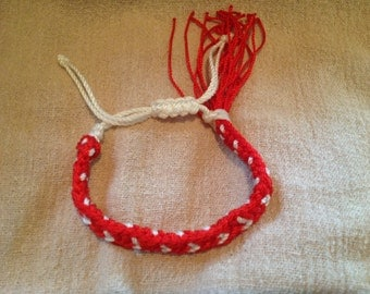 Flat Kumihimo Braided Red Bracelet with White Hearts