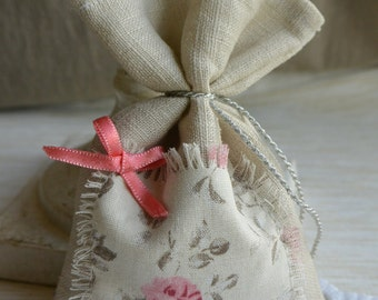 Linen lavender sachet, pink bow and fabric