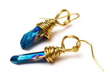 Crystal Gold Plated Twist Earrings in Royal