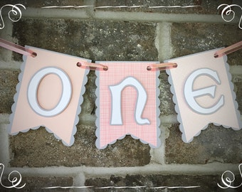 Pink & Gray ONE Highchair Banner, Birthday Banner
