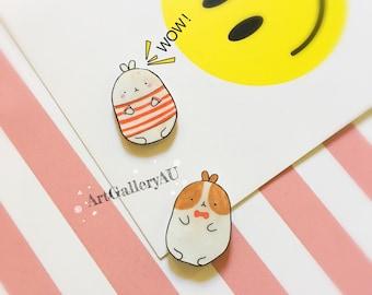 Kawaii Bunny Rabbit Fridge Magnet, Cute Molang Stationery, School Office Supplies, Korean Cartoon Character, Gift