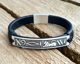 Egyptian leather bracelet, hieroglyph bracelet, Egyptian alphabet on a bracelet, custom bracelet, international jewelry,Egypt bracelet