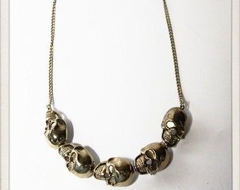 Gold Skull chain collar necklace