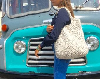 Big strong bag, handmade, crochet, mixed tweed wool.