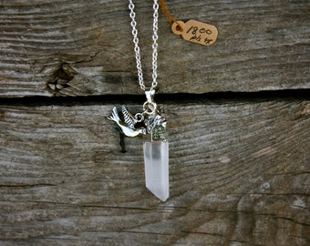 silver dove and white crystal