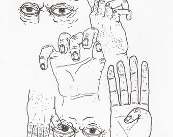 Left Hand Sketches Original Drawing