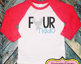 Four Year Old Birthday Shirt, Raglan Shirt, FourNado, Fourth Birthday Boy Shirt, 4 Year Birthday Shirt, 4th Birthday Shirt, Birthday Outfit