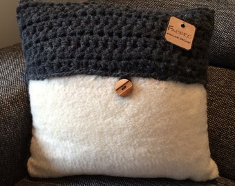 Knitting and wool cushion