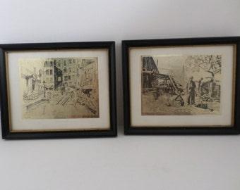 Lionel Barrymore Gold Flake Etched Framed Art