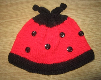Hand Knitted Ladybird Hat, for Baby aged 0-6 Months.