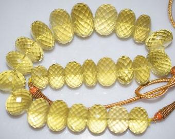 """1103 Cts.Beautiful Natural Lemon Quartz Rondelle Faceted Beads Necklace-Lemon Quartz Rondelle Faceted Necklace,16.50-25 mm,12""""-NL108"""