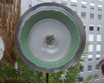 Vintage Aluminum, China and Glass Plate Flower Garden Art