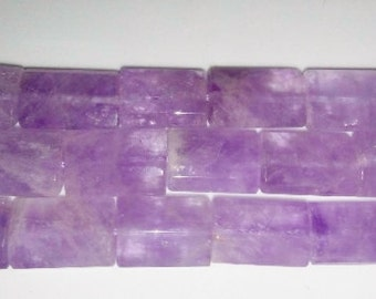 Amethyst beads rectangle beads faceted beads 12x18mm beads purple stone beads semiprecious stone semiprecious beads February birthstone