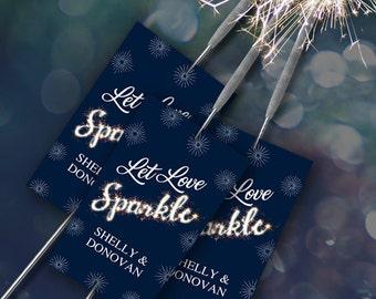 "Printable Let Love Sparkle Sparkler Send-off Cards - Blue, Eight 2""x3.5"" Personalized Cards, Editable PDF, Instant Download"
