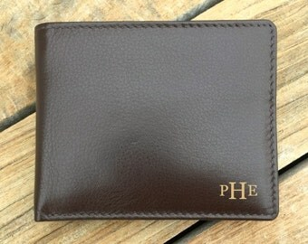 Mens wallet • Mens personalized wallet • Father of the bride • engraved mens leather wallets Dad • mens RFID monogram wallet • Brown* 7751