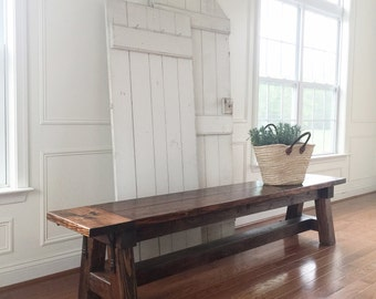 Rustic farmhouse bench, extra large, handmade, solid wood