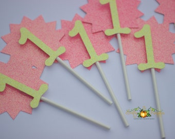 Sunshine cupcake toppers, my little sunshine cupcake toppers, pink and yellow cupcake toppers, my little sunshine decorations