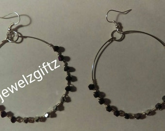Wire wrapped hoop earrings - Purple and gray