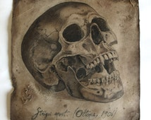 Vampire skull Original aged drawing Horror art