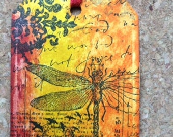 Dragonfly gift tag/bookmark-Free shipping