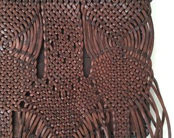 Deep Brown Moroccan Leather Fringe Shoulder Bag