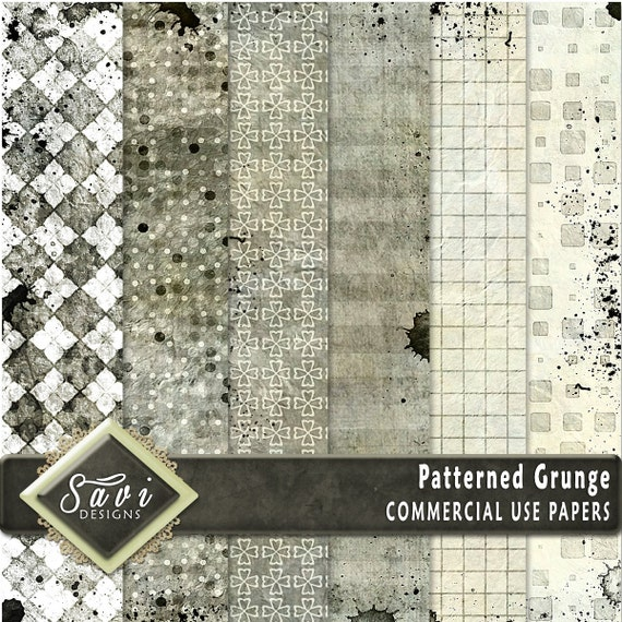 CU Commercial Use Background Papers set of 6 for Digital Scrapbooking or Craft projects PATTERNED GRUNGE, Designer Stock Papers