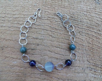 Fluorite and amethyst (sterling silver) bracelet