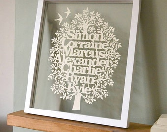 Bespoke Family Tree Paper-cut Template. hand-cut your own! PaperCut, kirigami, picture.