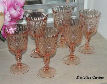 Lot of 6 arcoroc rosaline, arcoroc water glasses rosaline, water glasses, water glasses vintage.