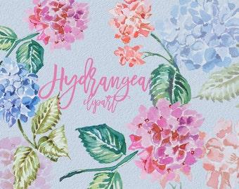 Watercolor Hydrangea Clipart,Handpainted clipart,Wedding,Design DIY,Printable,Digital Print,Flowers,Wreath,Transparent,Bouquete,Invitation