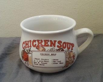 Chicken soup recipe mug ,  soup mug , soup bowl , vintage mug , vintage soup bowl