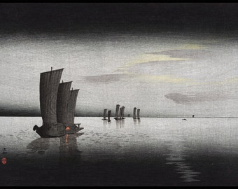 Fishing Boats Print - Moon Landscape - Grey Sea - Seascape - Grey - Japanese Vintage - Woodblock - Ukiyo-e - Ohara Koson - Digital Print